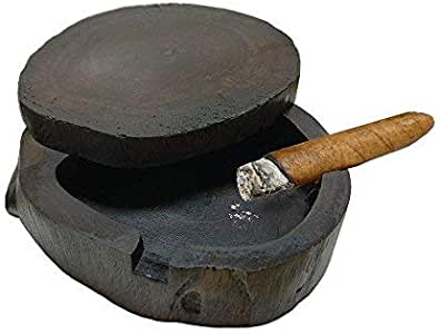 Outdoor Wood Cigar Ashtray with 360 Spinning Lid for Patio,Handmade Ashtray and 3 Cigarettes Holders Decorative Indoor Home Bar Table Top Smokeless Ashtray for Men 2019 New Year Party Xmas Funny Gifts