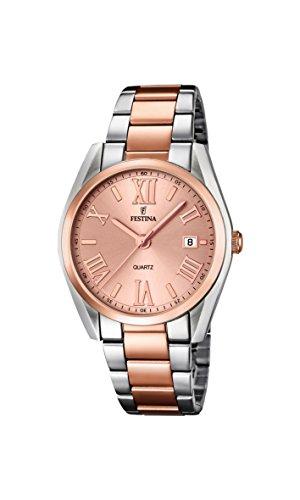Festina Boyfriend – Reloj de cuarzo para mujer, correa de acero inoxidable color oro rosa