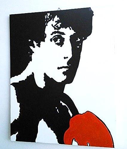 ROCKY BALBOA SYLVESTER STALLONE QUADRO MODERNO PANNELLO LEGNO MDF DIPINTO A MANO POP ART EFFECT (formato 40 x 50 cm) ARTEPOPART