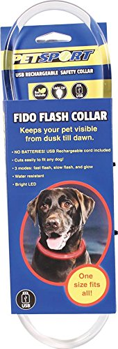 PetSport 90125 Fido Flash Usb Rechargeable Led Safety Collar, One Size, Red