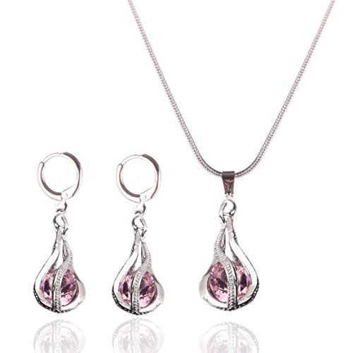 Yuhuan Womens Zircon Pendant Jewelry Set Gold/Silver Plated Chain Necklace and Earrings (Pink)