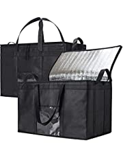 NZ Home Food Delivery Bags, Insulated Reusable Grocery Bag | Ideal for Uber Eats, Instacart, Doordash, Grubhub, Postmates, Restaurant, Catering, Grocery Transport | Dual Zipper (XXXL 2 Pack