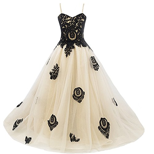 Long Gothic Black Lace Flower Girls Formal Bridesmaid Pageant Dresses Juniors Beige 2 by Kivary
