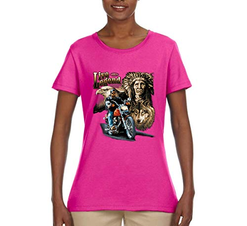 Ride The Legend | Motorcycle USA Wolf | Womens American Pride Graphic T-Shirt, Fuschia, Large