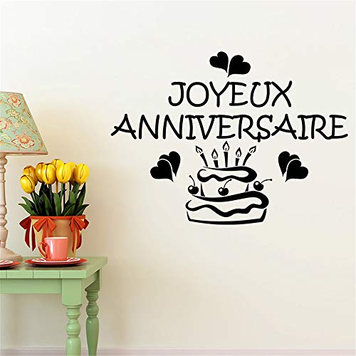 paecui Vinyl Wall Sticker Decal Quote Home Decor Joyeux annivesaire avec gâteau et Coeur for Nursery Kids Room Kitchen Dining Room -