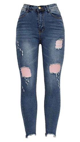 Barfly Fashion New Ladies Womens Girls Blue Skinny Slim Fit Knee Cut Distressed Ripped Ankle Grazer Jean Stretch Denim Jean UK Size 6-20 Design 8