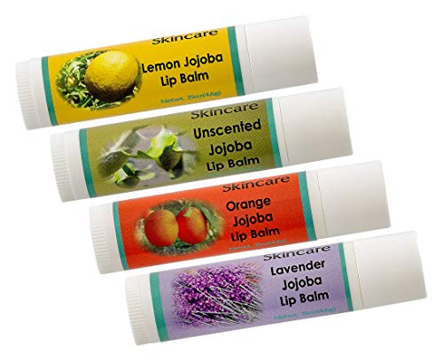 4 pack, Jojoba Oil Lip Balm with Beeswax Variety Pack, mildly scented .15 oz/4.6 gm each, all natural, cold pressed and undeoderized jojoba oil and Lemon oil, Orange oil, Lavender -