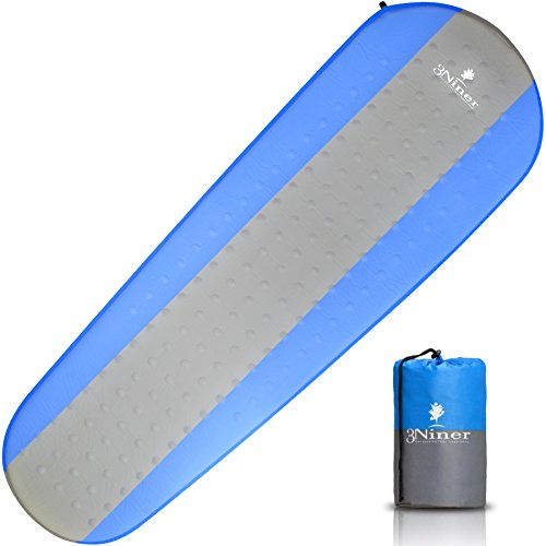 3Niner Self-Inflating Sleeping Pad, Lightweight, Easy to Carry, Quick Set up, Thick, Comfortable Compact Mattress, for Family Camping, Hiking, Trekking, Backpacking. Sleep Like a Baby. Blue & Grey