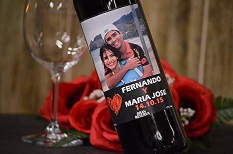 Botella vino personalizada para regalo novios pareja foto: Amazon.es: Alimentación y bebidas