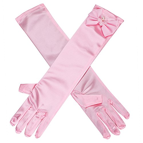 Kids Girls Multi-use Gloves Long Satin Princess Dress-up