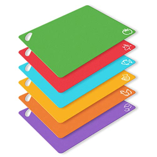 (6-Pack Extra Thick Flexible Plastic Cutting Board Mats 15''×12'', Colored Kitchen Cutting Mats Set for Kitchen & Bar, w/Food Icons, Easy-Grip Handles, Dotted)