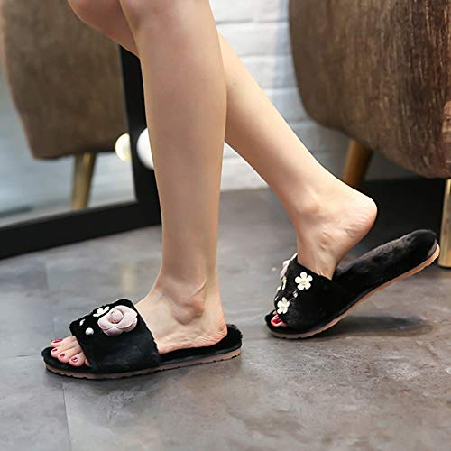 Warm House Home Lining on Fuzzy Ful Indoor Shoes Clog Slip No Women's Winter Plush Cotton Slip Slides Black Slippers 5xqv1wZnFS