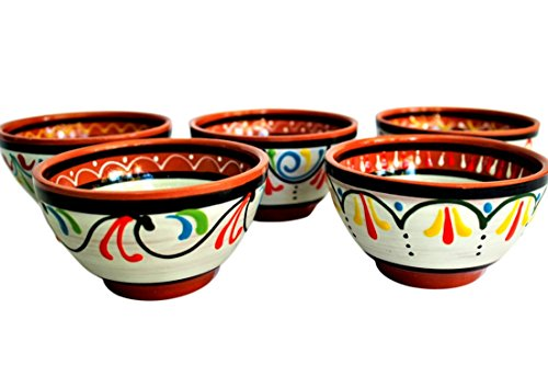 Terracotta White Salsa Bowl Set of 5 - Hand Painted From Spain by Cactus Canyon Ceramics