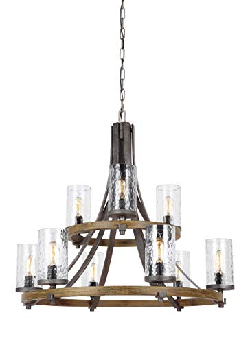 Feiss F3135/9DWK/SGM Angelo Glass Chandelier Lighting with Shades, Iron, 9-Light (33