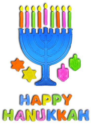 Menorah and Dreidels Hanukkah Window Gel Clings - Happy Hanukkah]()