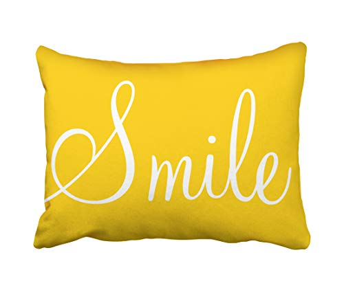 Tarolo Decorative SMILE Sunshine Yellow Decorative Lumbar Pillowcase Pillow Covers Size 20x26 inches(51x66cm) One Sided]()