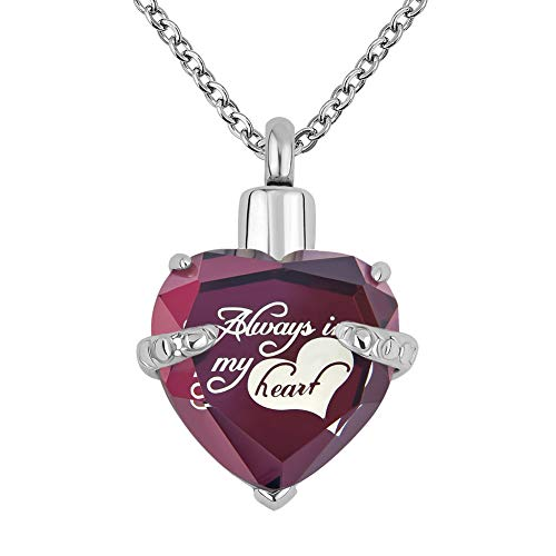 Lantern Low 12 Colors Heart Crystal Cremation URN Necklace for Ashes Jewelry Memorial Keepsake Pendant (Always in My Heart-Purple) ()
