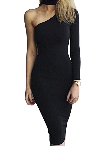 Allegrace Women Sexy One Shoulder Long Sleeve Bodycon Stretch Bandage