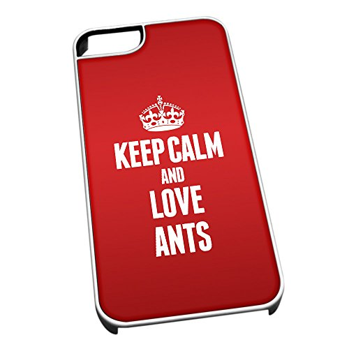 Bianco cover per iPhone 5/5S 2390Red Keep Calm and Love formiche
