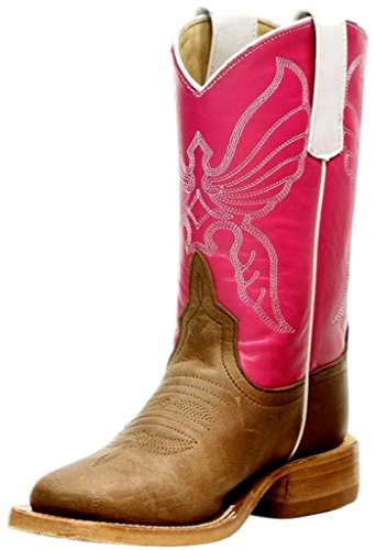 (Anderson Bean Western Boots Girls Kids Square Toe 1 Child Bone K7000 )
