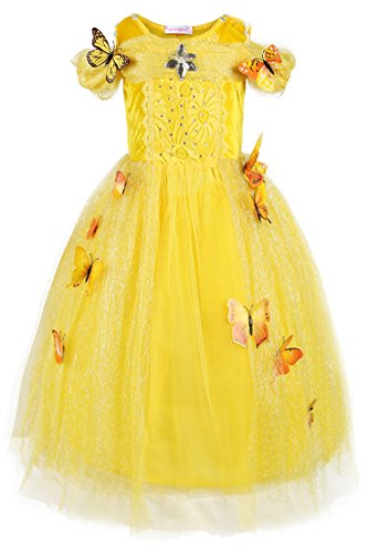 JerrisApparel Cinderella Dress Princess Costume Butterfly Girl (3 Years, Yellow)