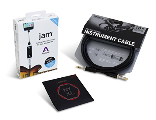 Apogee JAM Electric Guitar Accessory Bundle with D'Addario NYXL Light Top / Heavy Bottom Strings and American Stage Cable