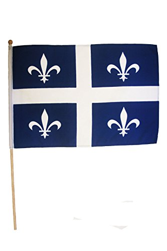 QUEBEC Canada Provincial 12 X 18 Inch Stick Flag Banner on a 2 Foot Wooden Stick .. Great Quality Polyester ... -