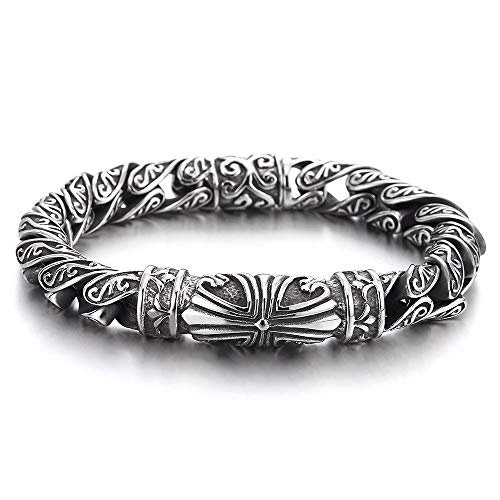 (COOLSTEELANDBEYOND Retro Style Tribal, Mens Steel Cross Charm Vintage Link Chain Bracelet Spring Clasp, 8.7 Inches)