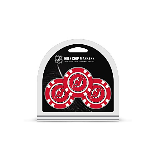 Team Golf NHL New Jersey Devils Golf Chip Ball Markers (3 Count), Poker Chip Size with Pop Out Smaller Double-Sided Enamel ()