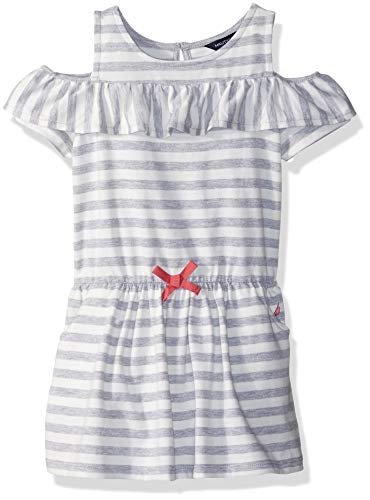 Nautica Toddler Girls' Striped Sleeveless Dress, Light Grey Heather, 2T