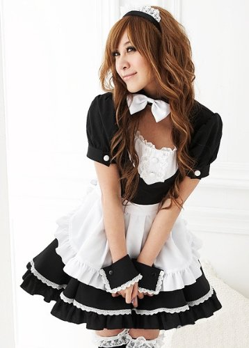 Black Cute Maid Costumes Fancy Party Dress For Halloween Fit size Fast (Halloween French Maid Makeup)