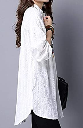 NOBRAND - Camiseta blanca para mujer, manga larga, holgada ...
