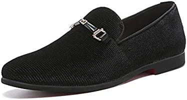 NXY Black Loafers Men丨Men's Penny Loafers & Velvet Loafers Men - Fashion Formal Buckle Casual Dress Shoes