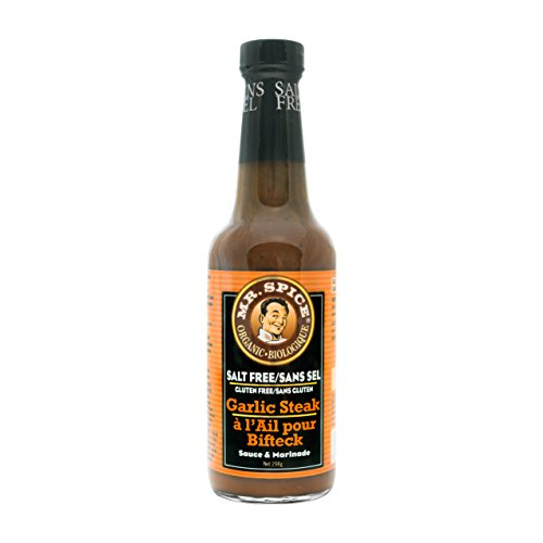 Mr. Spice Organic Garlic Steak Sauce - Salt-Free Marinade - Fat Free - Gluten Free - Vegan - Low (Fish Steak Sauce)