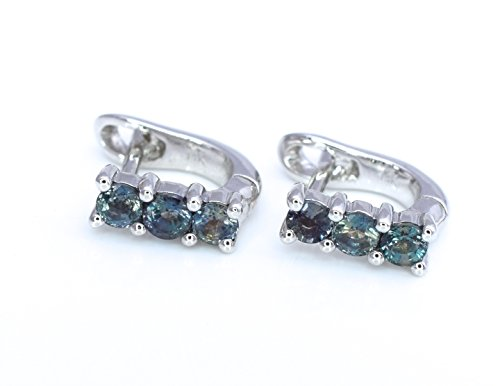 Natural Alexandrite Hoops Huggies Stud Earrings 0.53 cttw Color change from Blue Greet to Purple 14K White Gold Post NEW ()