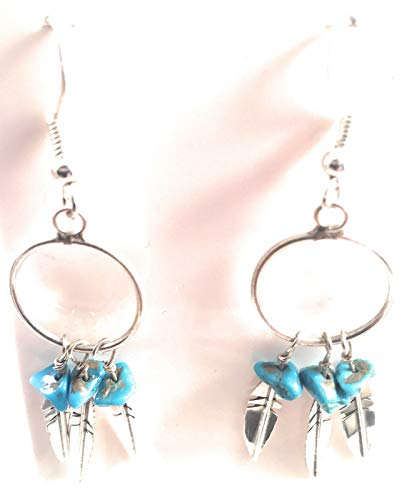 Navajo Sterling Silver Turquoise Feather Dangle Earrings from Nizhoni Traders LLC