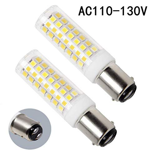 (Ba15d LED Bulb, 8.5W 120 Volts, Bayonet Base 75W Halogen Bulbs Equivalent Replaces JD Type T3/ T4 Clear Bulb, Daylight 6000K, for Pendants Ceiling Fans Sewing Machine Light (Pack of 2))