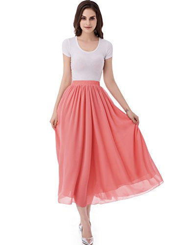 emondora Women's Chiffon Long A-Line Retro Skirts Pleated Beach Maxi Skirt Coral Size XL