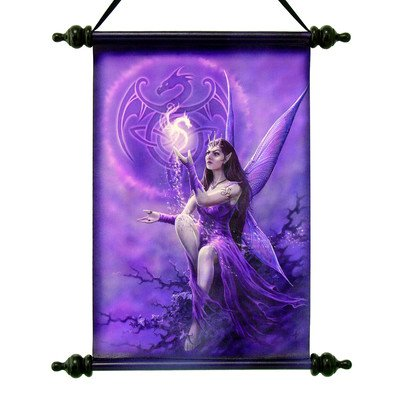 Design Toscano Celtic Dragon Fairy Canvas Wall Scroll