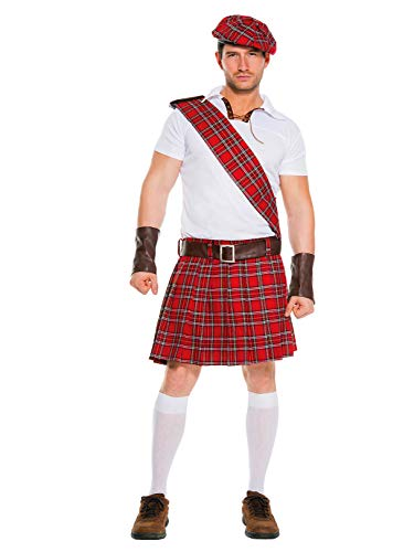 Music Legs Men's Traditional Scottish Man, Red/Black/White, Large