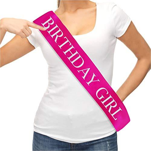 Pink Birthday Sash (Birthday Sash and Tiara. Pink Sash with Glitter