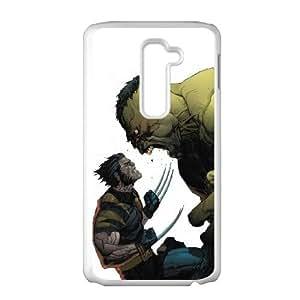 LG G2 Cell Phone Case White Angry Hulk Vs Wolverine LV7945230