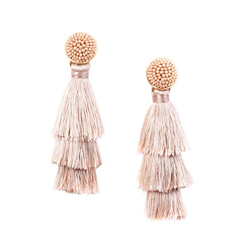 (RIVERTREE Womens Layered Tassel Earring Beaded Boho Statement Fringe | Champagne Rose Gold | 3 Tiered Long Vintage Chandelier Drop Dangle Earring )