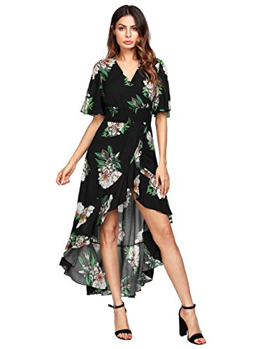 MakeMeChic Women's Short Sleeve Floral High Low V-Neck Long Maxi Dress 1Black S