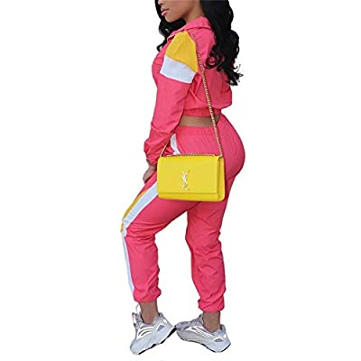 Women Casual Tracksuit 2 Piece Zip Top and Elastic Waistband Pant Women Windbreaker Tracksuit Set at Women's Clothing store