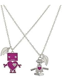 Silvertone Pink Love Robot BFF Best Friends Forever Necklace Set