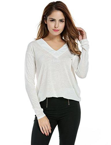 Zeagoo Sweater Femme Col V Manche Longue Tshirt Loose Casual en Jersey