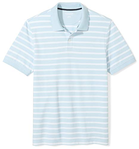 - Amazon Essentials Men's Slim-fit Cotton Pique Polo Shirt, Light Blue Stripe, X-Large
