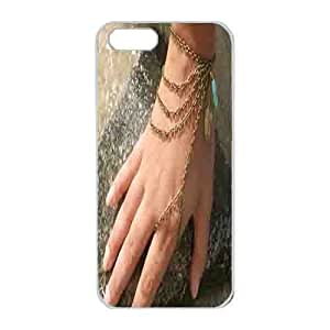 Iphone 5s Case,Hard PC Iphone 5s Protective Case for Ultimate Protect iphone 5s with Hand Chain Bracelet Piece Hipster Bronze Chain Boho Bohemian Feather