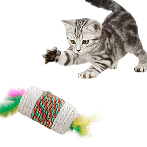 Price comparison product image Naladoo Pet Cat Kitten Toy Rolling sisal Scratching Cat Toy Funny Kitten Play Dolls
